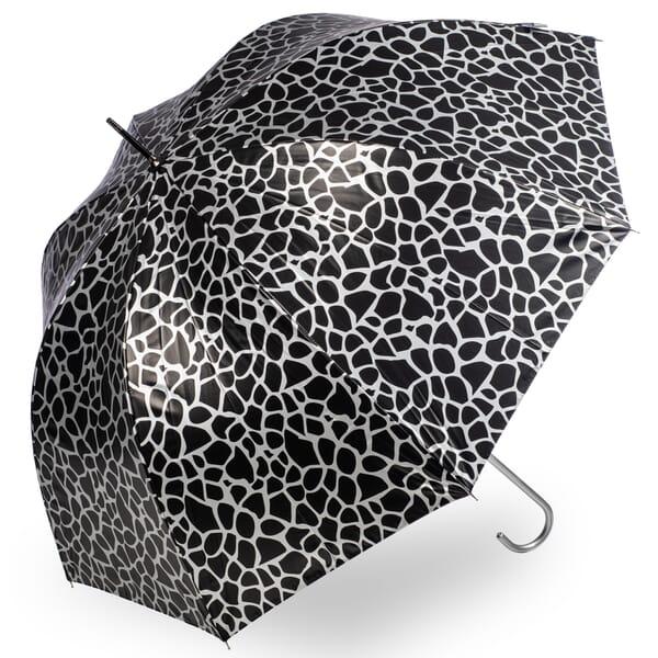 Giraffe print Metallic Umbrella Silver