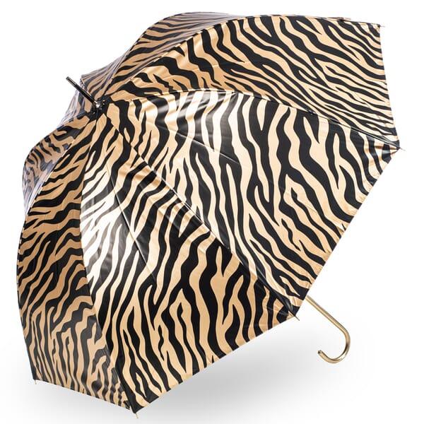 Metallic Zebra Print Umbrella Gold