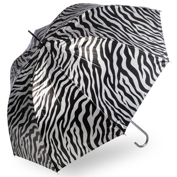 Zebra Print Metallic Silver Umbrella by Soake